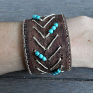 ECOFOLK | Tribal Beaded Leather Cuff Bracelet